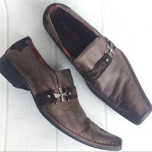 Robert Wayne Brown Leather Slip on Loafers